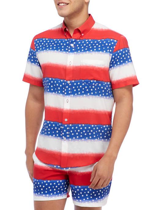 Short Sleeve Woven American Flag Stripe Shirt