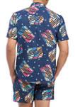 Short Sleeve Woven Beer Print Shirt