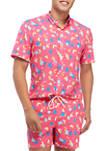 Short Sleeve Woven Geometric Print Shirt