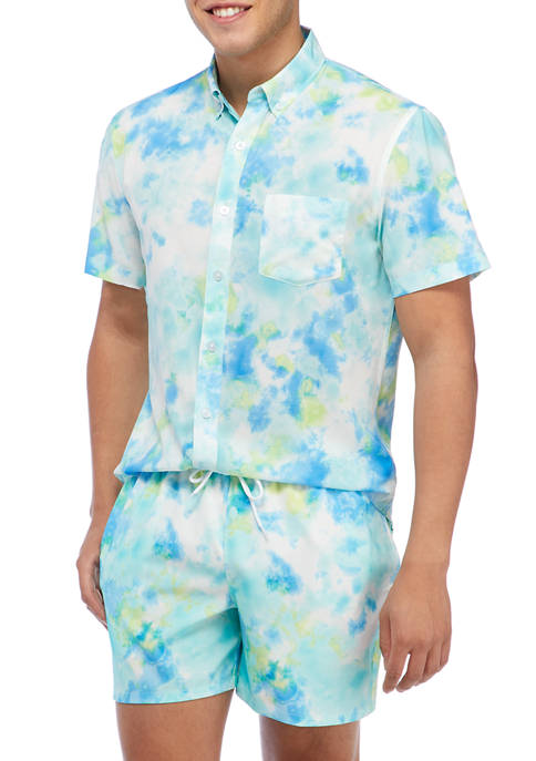 Sky Tie Dye Short Sleeve Woven Shirt