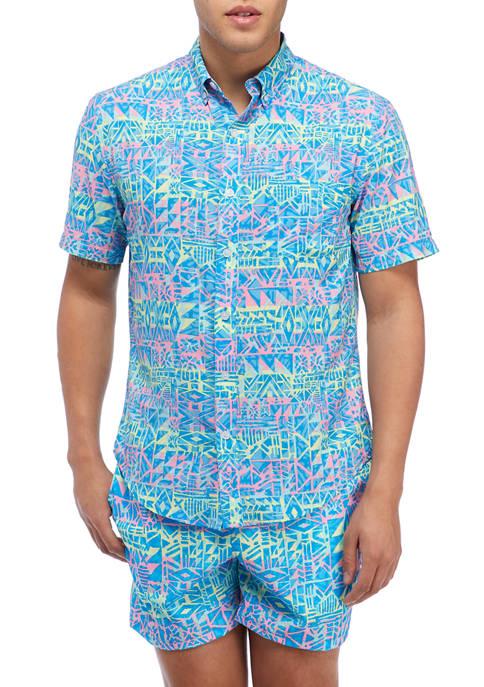 Short Sleeve Neon Tribal Woven Shirt