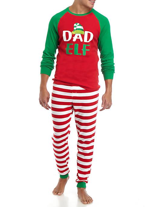 Mens Red Elf 2 Piece Pajama Set