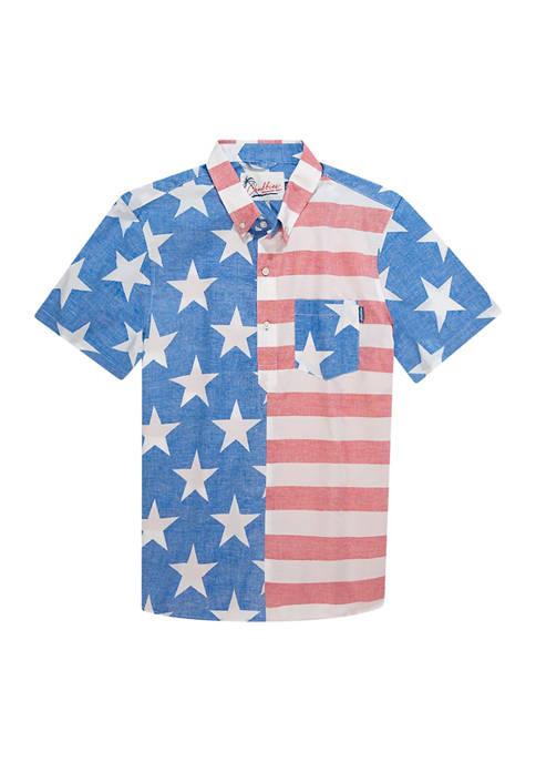 CHUBBIES Mens Americana Print Button Up Shirt