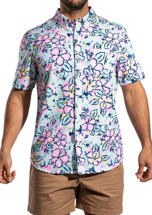 Mens Light/Pastel Mint Floral Button Down Shirt