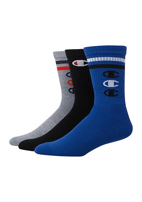 "Champion® 3 Pack ""C"" Logo Crew Socks"