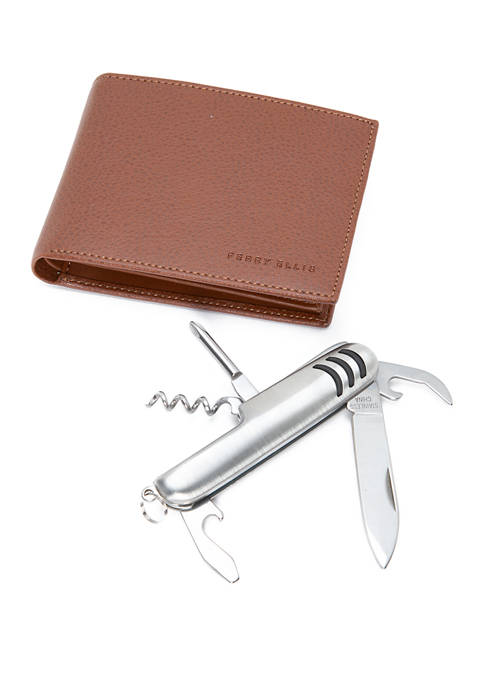 Leather Passcase With Pocket Multi Tool