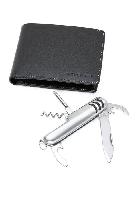 Pebbled Leather Passcase With Pocket Multi Tool