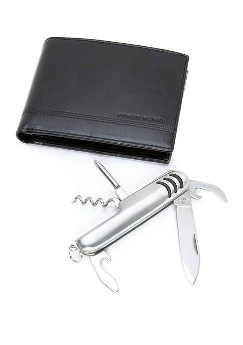 Smooth Leather Passcase With Pocket Multi Tool