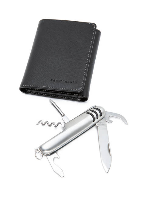 Pebble Leather Trifold With Pocket Multi Tool
