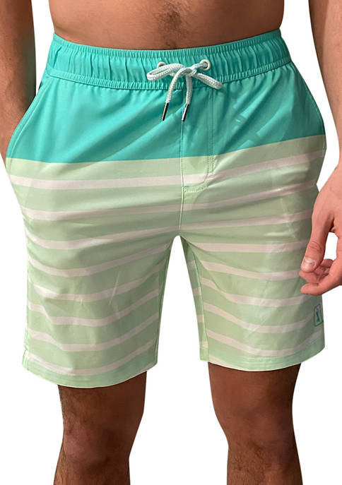 Green Stripes Swim Trunks