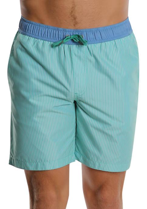 PGA TOUR® Green Stripes Compression Swim Trunks
