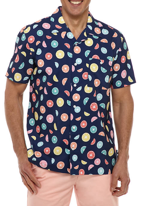 Crown & Ivy™ Mens Short Sleeve Performance Button