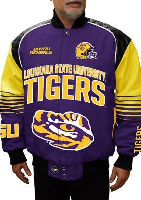 Franchise Club Mens Big Tall Ncaa Lsu Tigers Boss Twill Jacket