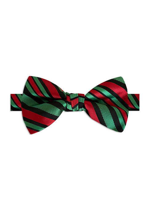Black Candy Cane Stripe Bow Tie
