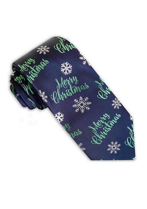 Merry Christmas Snowflake Tie