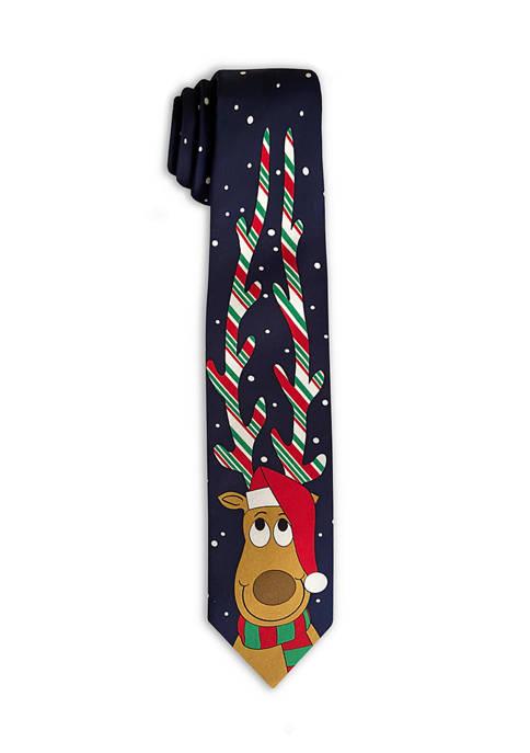 Reindeer Candy Cane Tie