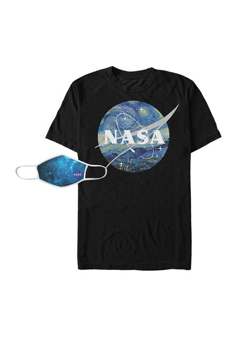 Starry NASA Combo Graphic T-Shirt and Mask