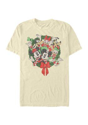Disney Mens Classic Mickey Friends Wreath Graphic T-Shirt