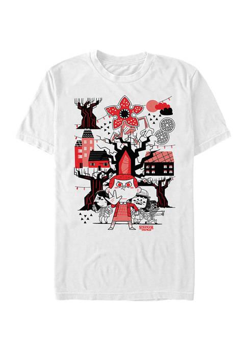 Stranger Things Red Black Graphic T-Shirt