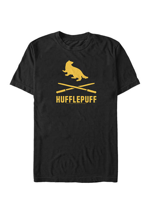 Harry Potter Hufflepuff Icons Crossed Wands Graphic T-Shirt