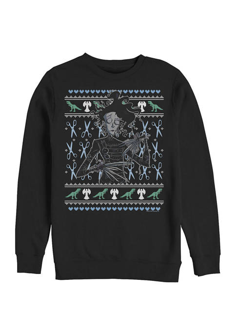 Edward Scissorhands Intarsia Scissorhands Crew Fleece Graphic Sweatshirt