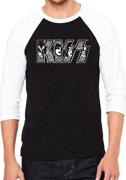 KISS Raglan Baseball Word Art Graphic T-Shirt