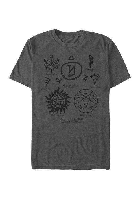 Supernatural Marks Sigils Symbols Graphic Short Sleeve T-Shirt