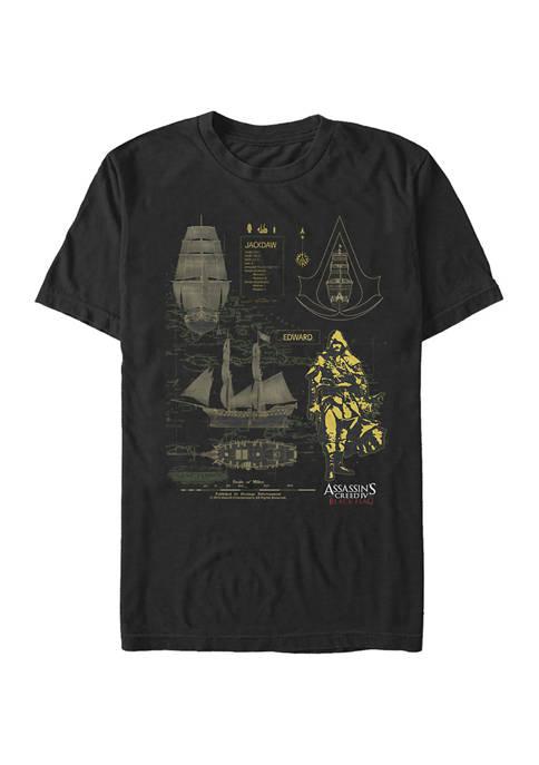 Jackdaw Blueprint Graphic Short Sleeve T-Shirt