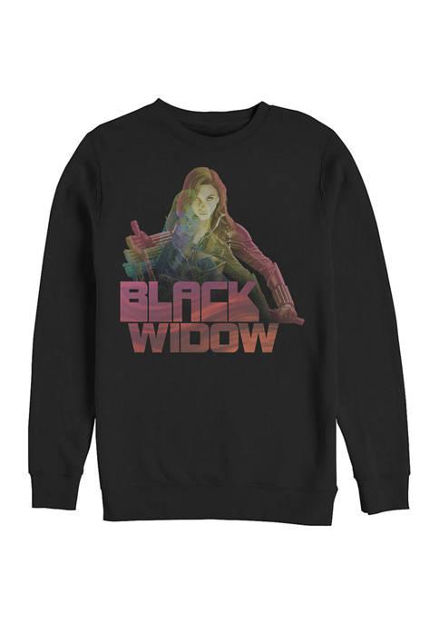 Black Widow Graphic Crew Fleece Sweatshirt