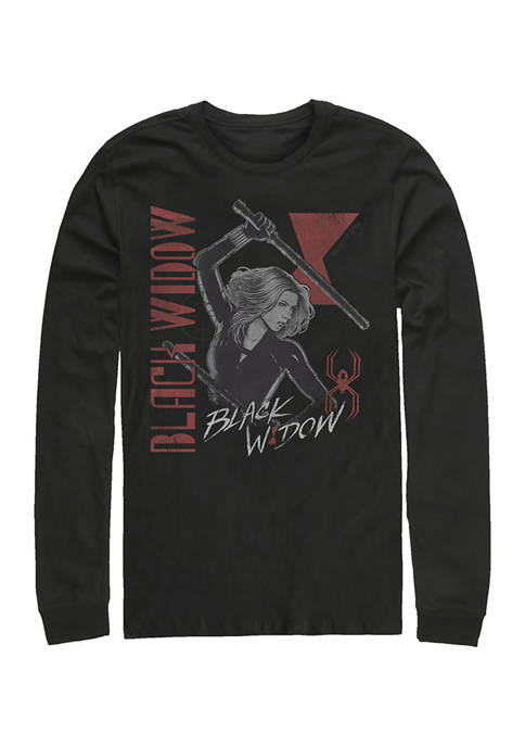 Black Widow Retro Graphic Long Sleeve T-Shirt