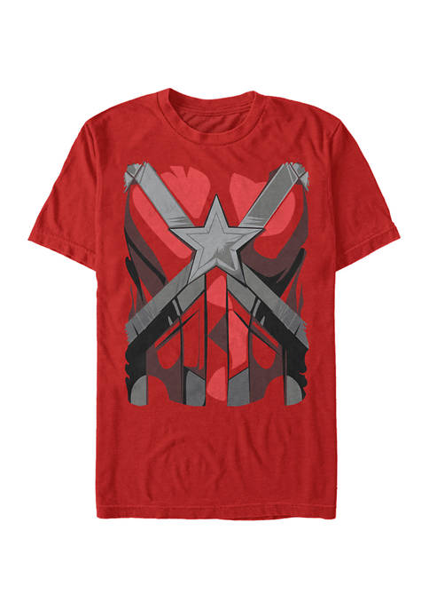 Red Guardian Costume Graphic Short Sleeve T-Shirt