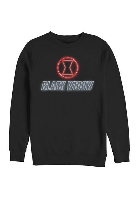 Black Widow Neon Graphic Crew Fleece Sweatshirt