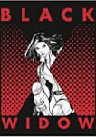 Halftone Black Widow Graphic Long Sleeve T-Shirt