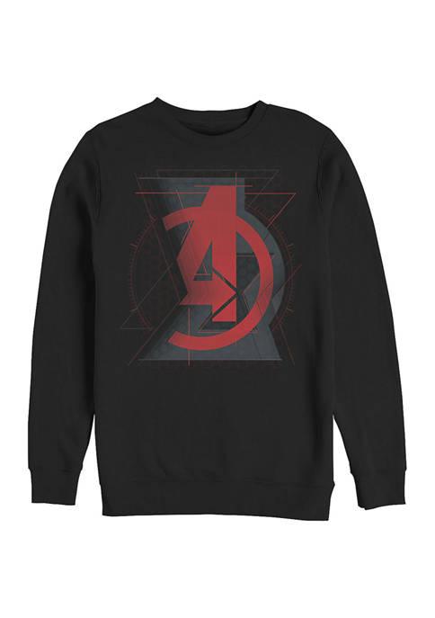 Avengers Widow Logo Graphic Crew Fleece Sweatshirt