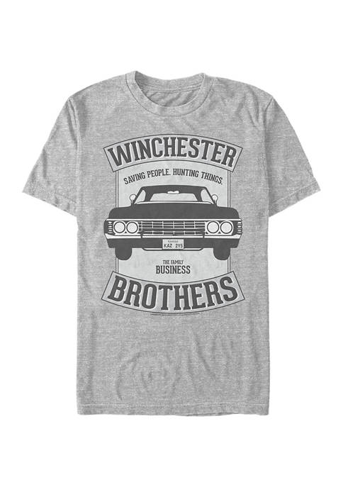 Supernatural Winchester Car Crest Graphic Short Sleeve T-Shirt