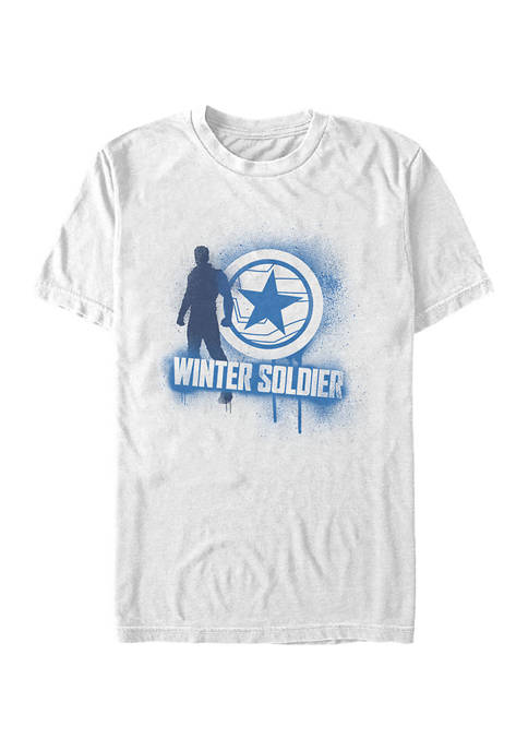 Winter Soldier Spray Paint Graphic Short Sleeve T-Shirt