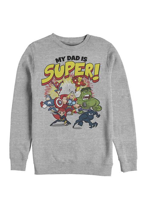 MY DAD IS SUPER Crew Fleece Graphic Sweatshirt