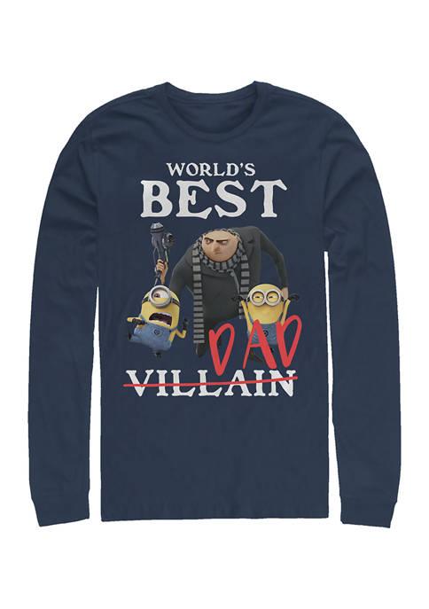 Minions Best Villiain Long Sleeve Graphic T-Shirt