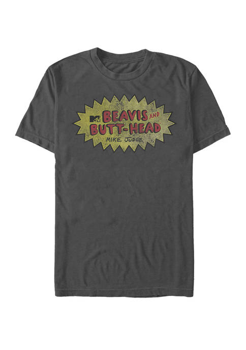 Beavis and Butthead Distressed Faded Logo Short Sleeve T-Shirt