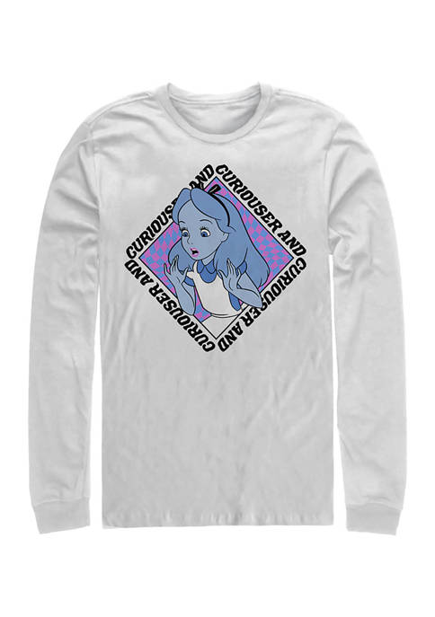 Disney® Alice Face Long Sleeve Crew Graphic T-Shirt