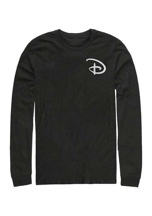 Juniors Disney D Pocket Graphic Long Sleeve Crew T-shirt