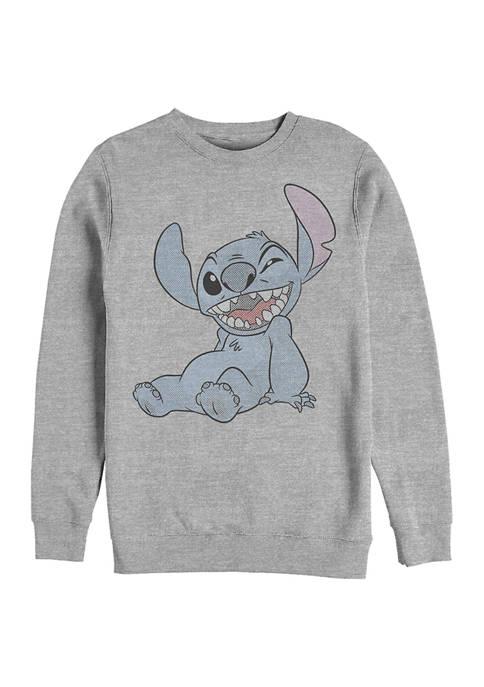 Disney® Juniors Halftone Stitch Graphic Crew Fleece Sweatshirt