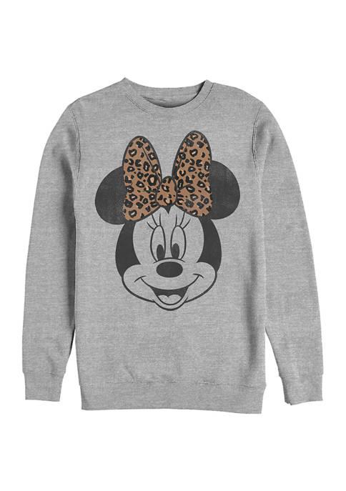 Mickey Classic Modern Minnie Face Leopard Crew Fleece