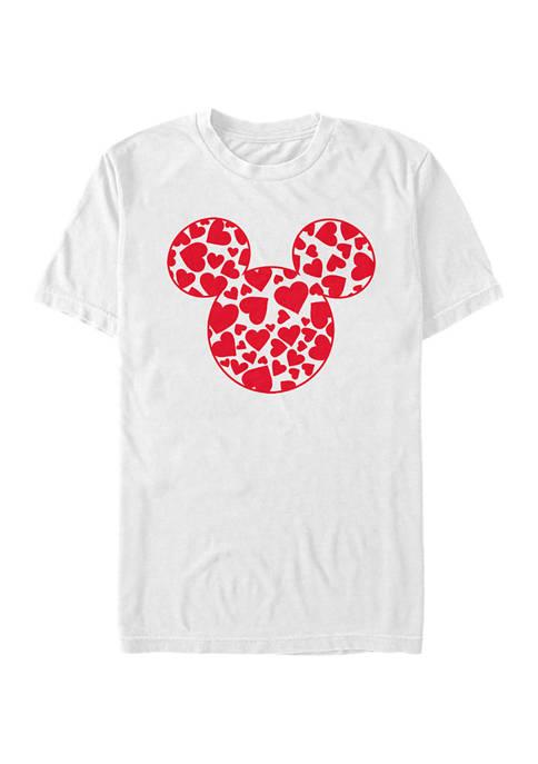Mickey Classic Hearts Fill Short Sleeve Graphic T-Shirt