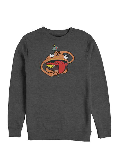 Fortnite Durr Burger Graphic Crew Fleece Sweatshirt