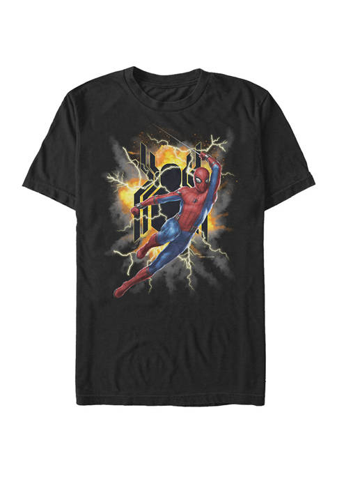 Spider Man Far From Home Exploding Logo Action Pose Short Sleeve Graphic T-Shirt