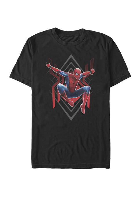 Spider Man Far From Home Geometric Jumping Portrait Short Sleeve Graphic T-Shirt