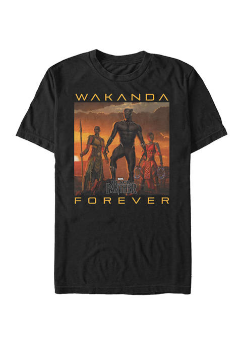 Big & Tall Black Panther Wakanda Forever Poster Short Sleeve Graphic T-Shirt