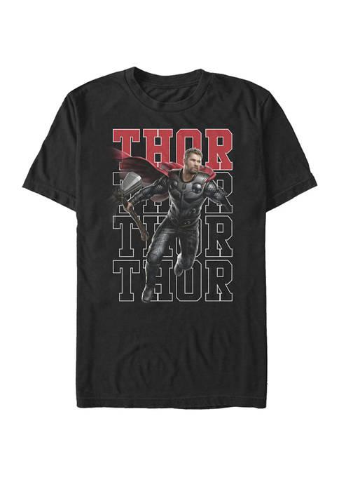 The Avengers Endgame Thor Pose Name Stack Short Sleeve T-Shirt