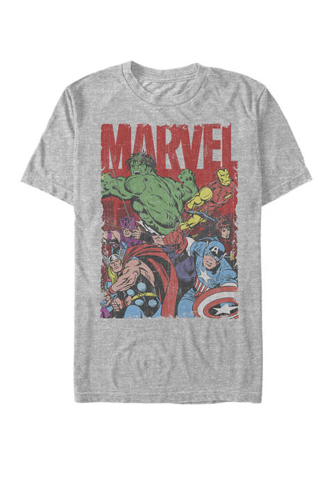 Marvel™ Avengers Team Retro Comic Vintage Short Sleeve